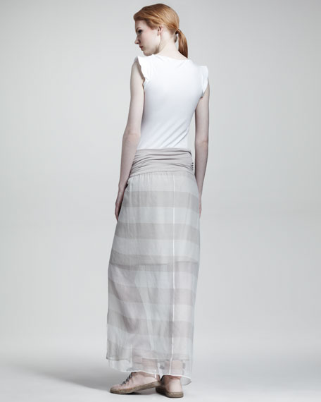 Jersey-Waist Striped Maxi Skirt
