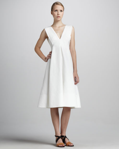 Sleeveless V-Neck Cady Dress