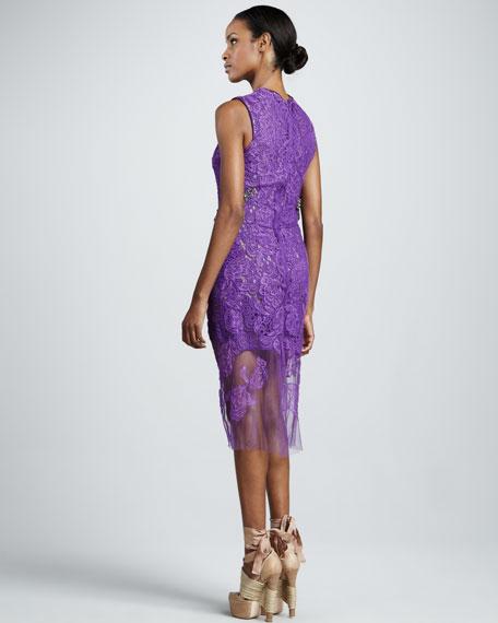 Jewel-Waist Lace Sheath Dress, Amethyst