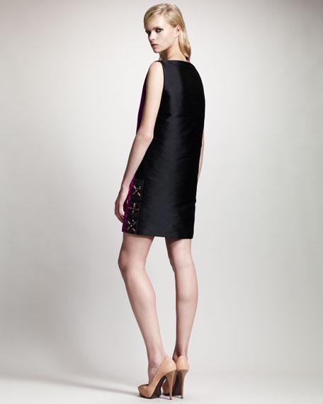 Two-Tone V-Neck Shift Dress