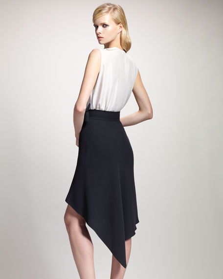 Asymmetric-Hem Wrap Skirt, Black