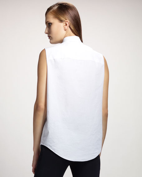 Trapunto-Stitched Sleeveless Blouse