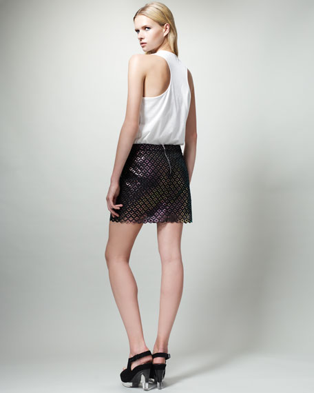 Diamond-Pattern Miniskirt