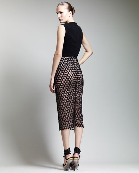 Macrame Below-Knee Pencil Skirt
