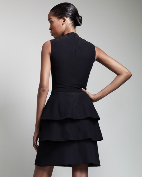 V-Neck Double-Peplum Dress, Black