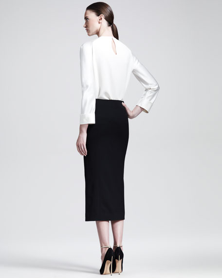 Below-the-Knee Front-Slit Skirt