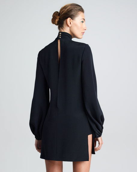 Embroidered High-Neck Tunic Dress