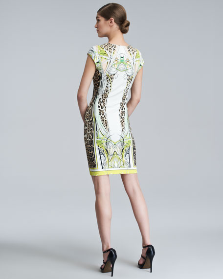 Printed V-Neck Cap-Sleeve Dress