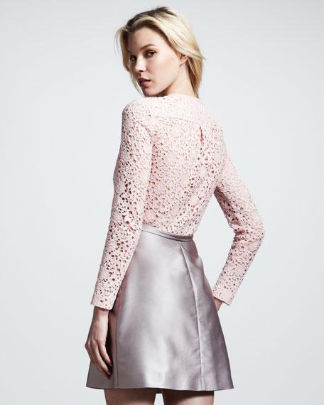 Corded Lace & Jacquard Combo Dress, Rose