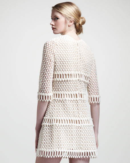 Popcorn Lace Dress, Ecru