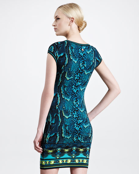 Short-Sleeve Snake-Print Sheath Dress, Turquoise