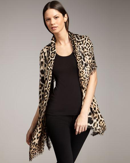 Leopard-Print Stole, XL