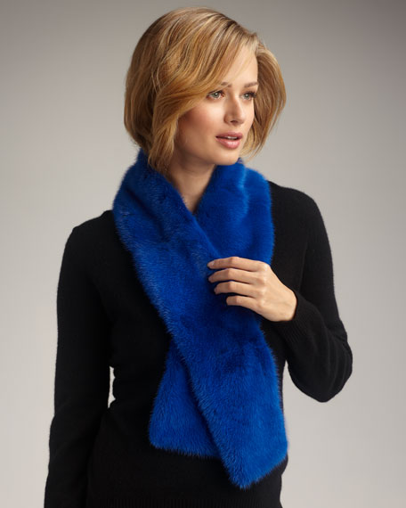 Mink Fur Scarf, Blue
