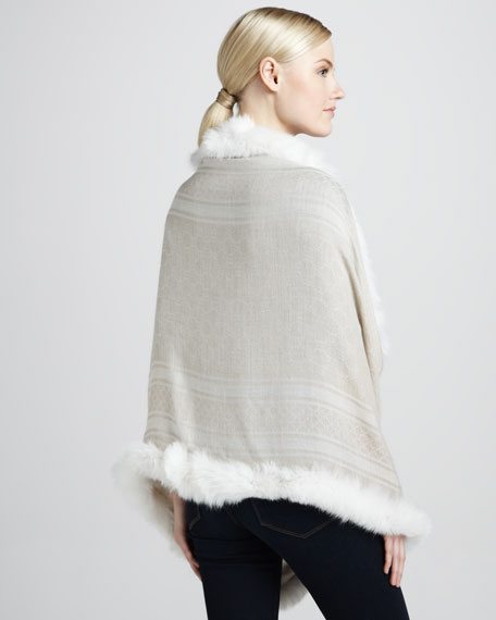 Fox-Trimmed GG Stole, Ivory/Beige
