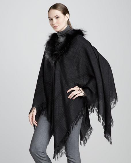 834fb1a2d67 Gucci Fox Fur-Trimmed GG Poncho