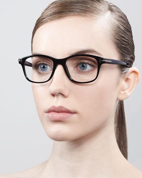 Unisex Semi-Rounded Square Fashion Glasses, Dark Havana