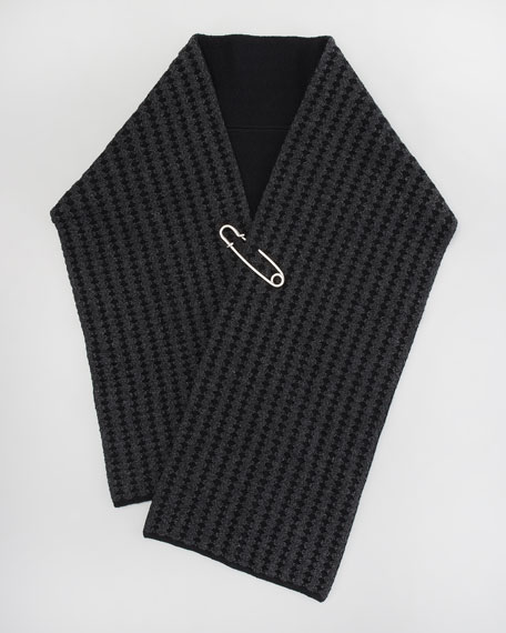 Safety-Pinned Waffle-Knit Scarf, Black