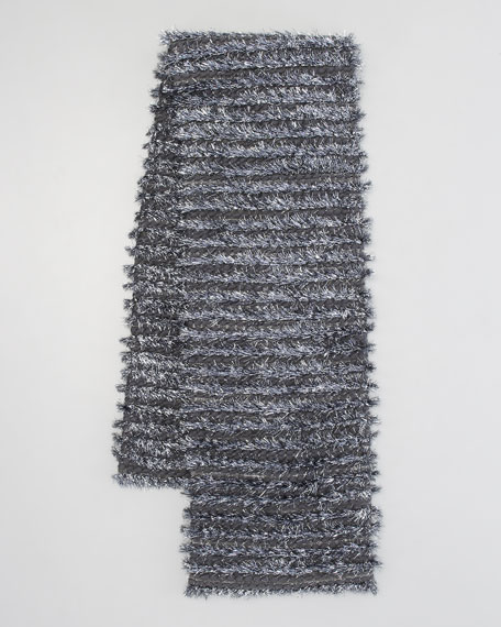 Tinsel-Striped Tweed Scarf, Anthracite