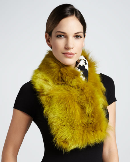 Fur Shawl Collar, Olive