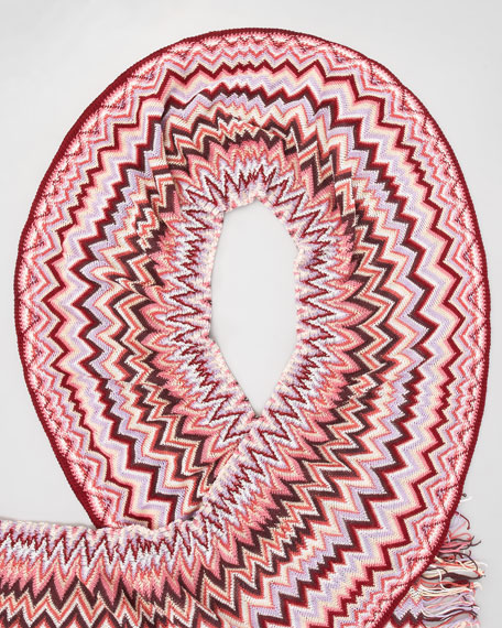 Ruched Zigzag Scarf, Pink