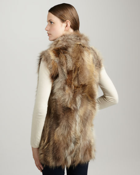 Long Raccoon Fur Vest, Natural