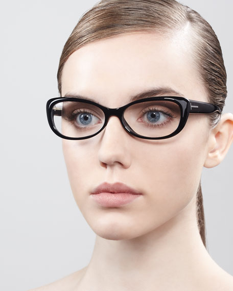 Soft Cat-Eye Fashion Glasses, Shiny Black/Rose Golden