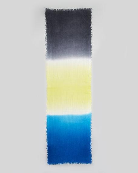 Tricolor Fringe Stole, Blue
