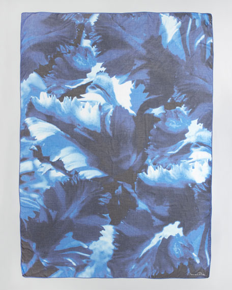 Parrot Tulip-Print Scarf, Navy