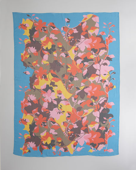 Floral-Print Chiffon Scarf