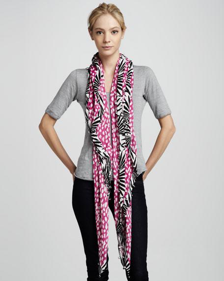 Leopard & Leaf-Print Pompom Scarf