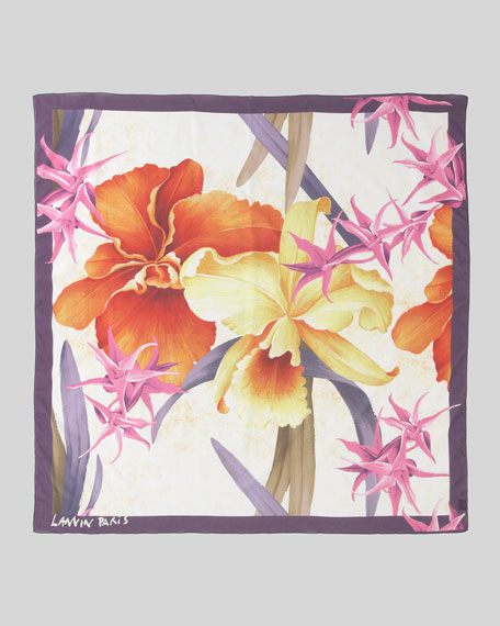 Fleurs Cotton Scarf, Ecru