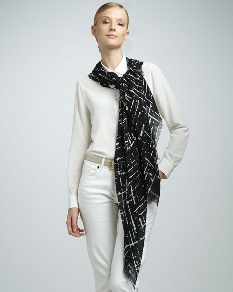 Abstract-Print Nuvola Stole, Black/White