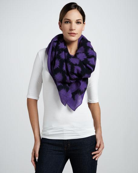 Sparks Print Soft Wool Scarf, Violet/Multicolor