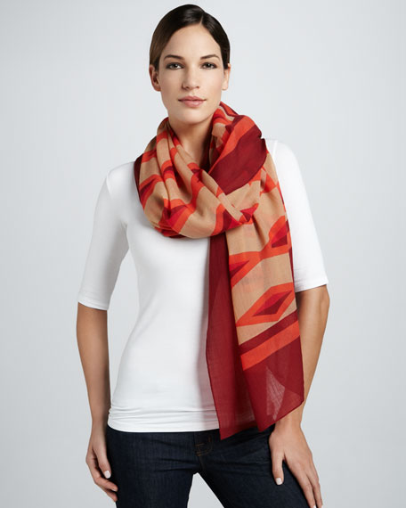 Hayley Striped Lightweight Scarf, Lobster