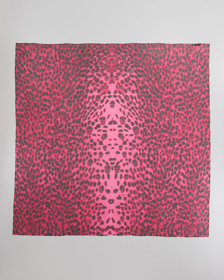 Leopard-Print & Skull Chiffon Scarf, Fuchsia/Black