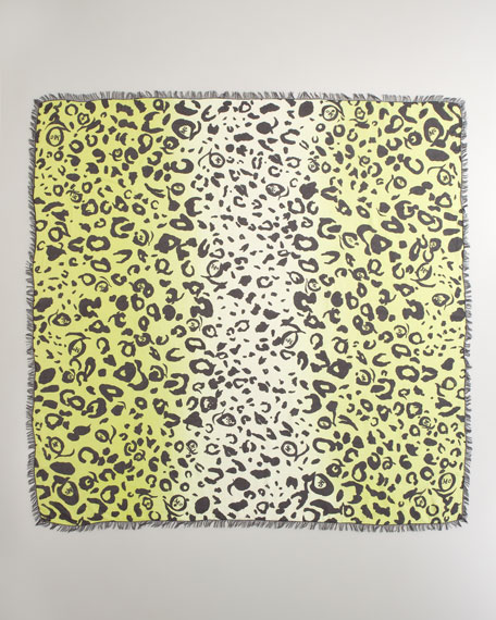 Animal Print Scarf, Neon Yellow