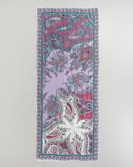 Classic Linen-Silk Paisley Scarf, Purple/Pink