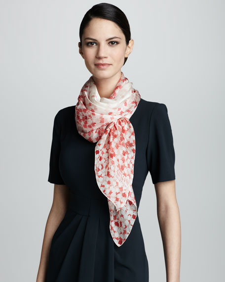 Petal-Print Silk Scarf, Coral