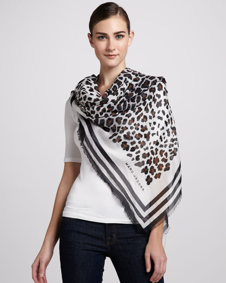 Leopard-Print Cotton Scarf, Cocoa/White/Black