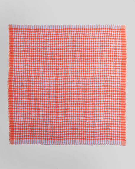 Molly Check Scarf, Coral/Gray