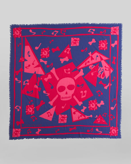 Bones Print Square Scarf, Punch Pink