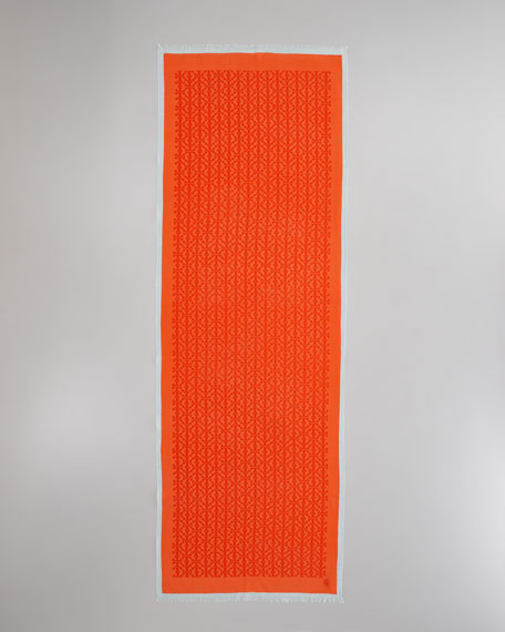 Allover T-Logo Printed Scarf, Fire Orange