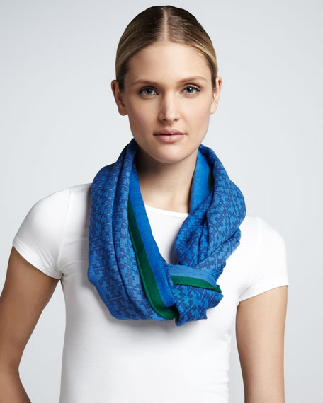 Allover T-Logo Printed Scarf, Ocean Breeze