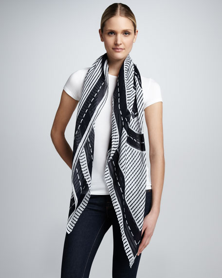 Striped Logo Square Scarf, Tory Navy/White