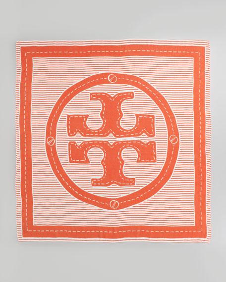 Striped Logo Square Scarf, Poppy Red