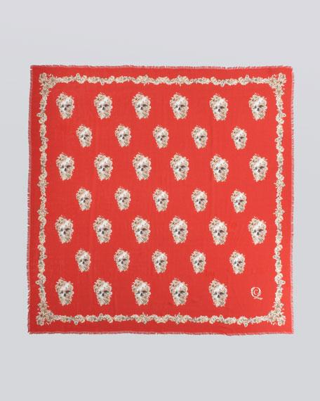 Skull & Wildflower Silk Scarf, Red