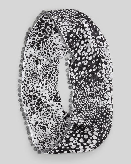 Leopard Rain Print Infinity Scarf, Black/White