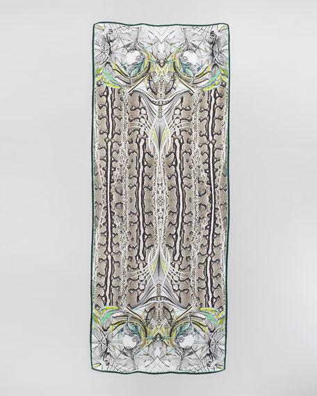 New England Python-Print Scarf, Black/Taupe/Green