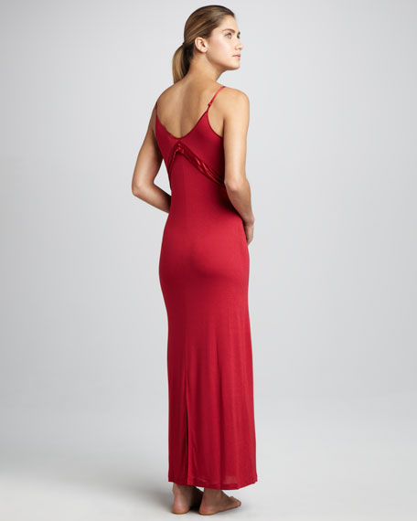 Long Satin-Trim Gown