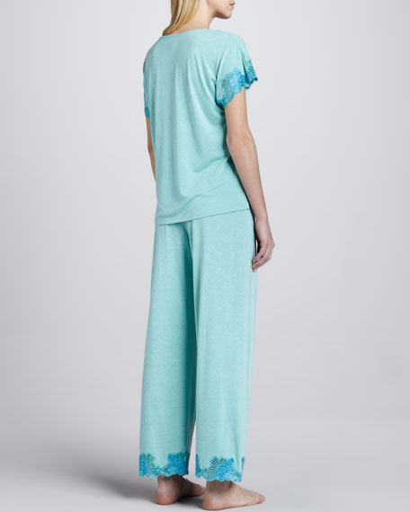 Zen Lace-Trim Pajamas, Sea Glass